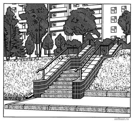 Откос, лестница и организация стока на территории микрорайона
