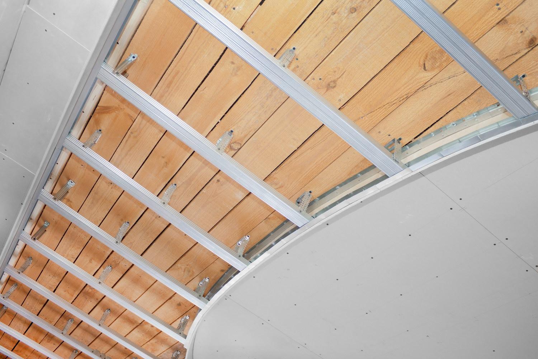 Как сделать профиль и гипсокартон потолок стена