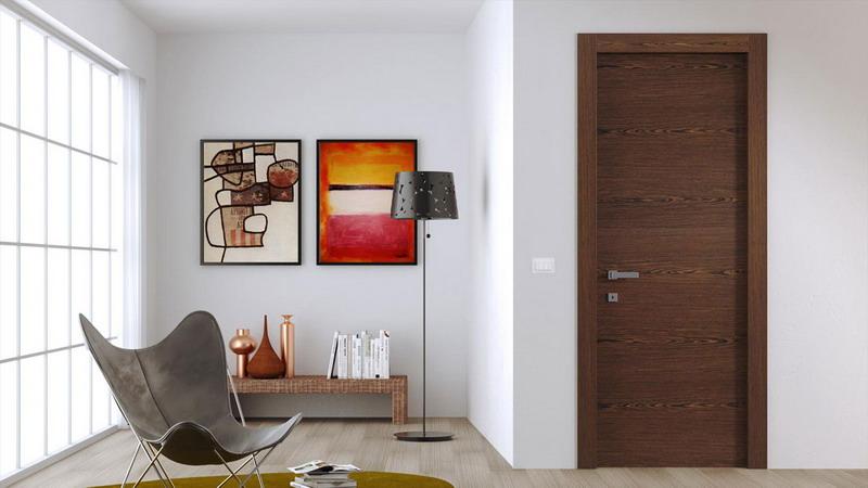 межкомнатная шпонированная дверь в интерьере
